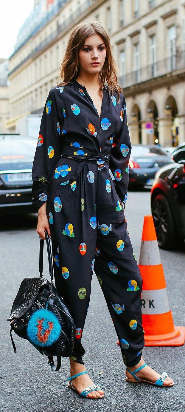 Valery Kaufman with a Fendi leather bag blue bag bug via vogue