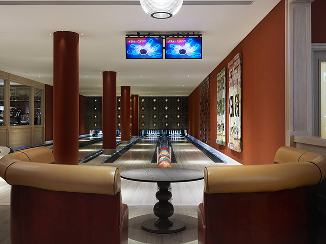 Ham Yard Hotel, Soho London bowling