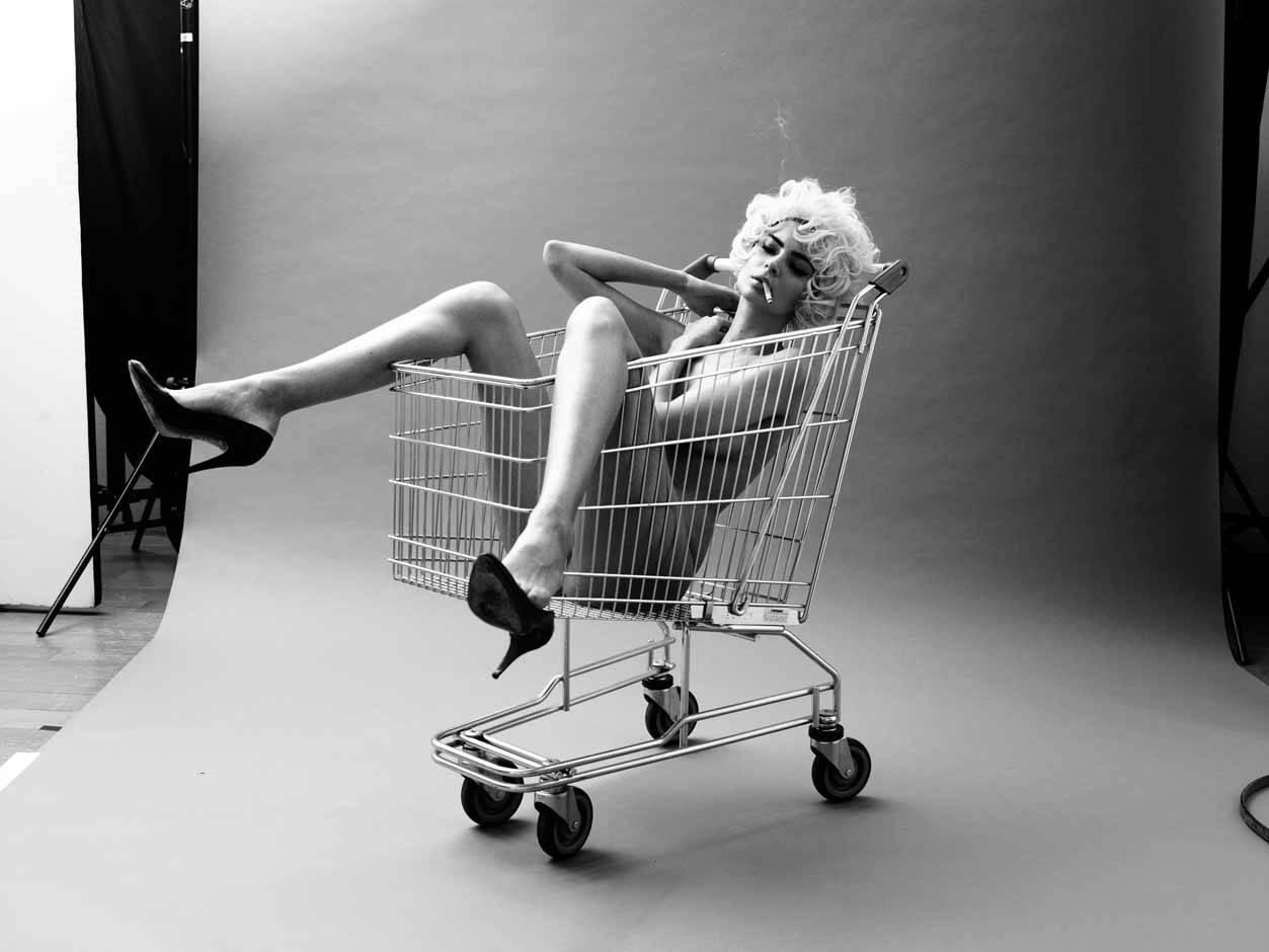 girl in shopping cart image
