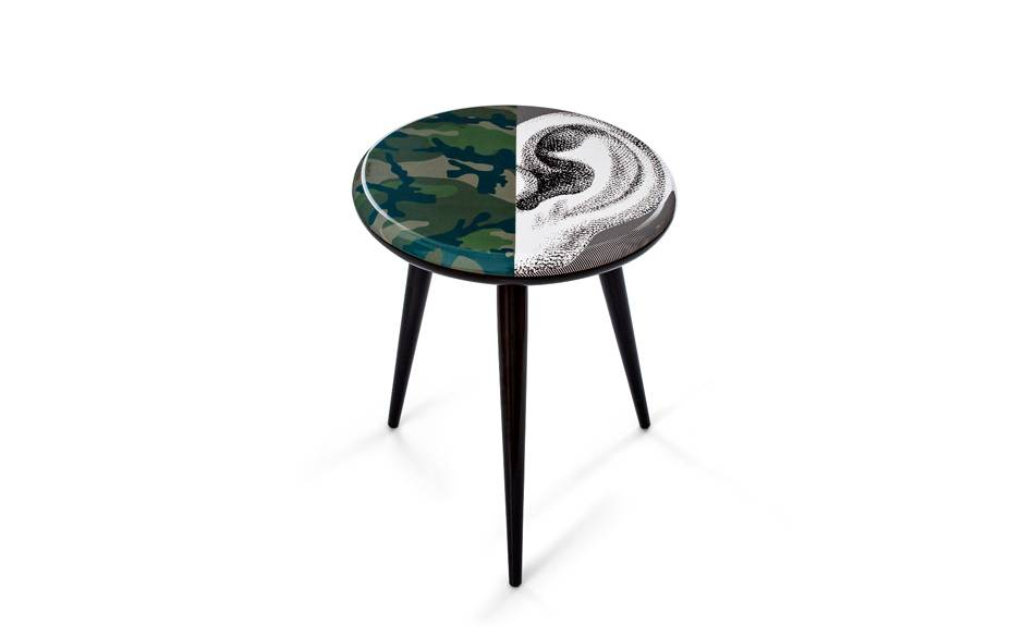 Wooden stool. $1600. Image: Valentino / Fornasetti.