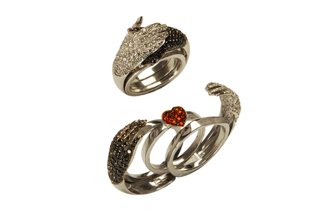 Delfina Delletrez hidden trio heart ring, of her anatomic collection