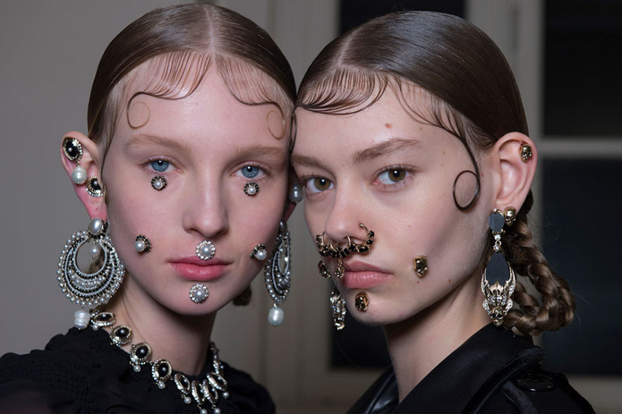 Givenchy AW15 backstage face jewelry