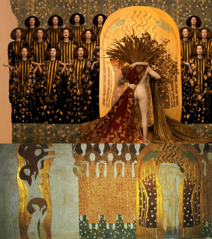 Friso de Beethoven. Models recreate Gustav Klimt's most iconic paintings. Photos Life Ball and Inge Prader