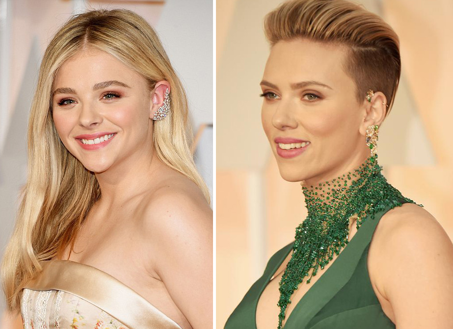 Chloe Grace Moretz and Scarlett Johansson Oscars 2015 Getty
