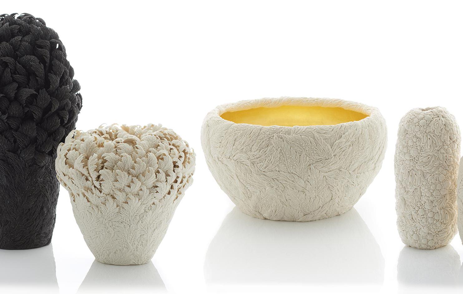 Hitomi Hosono porcelain sculptures at Adrian Sassoon