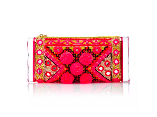 Embroidered Clutch in Pink by Edie Parker
