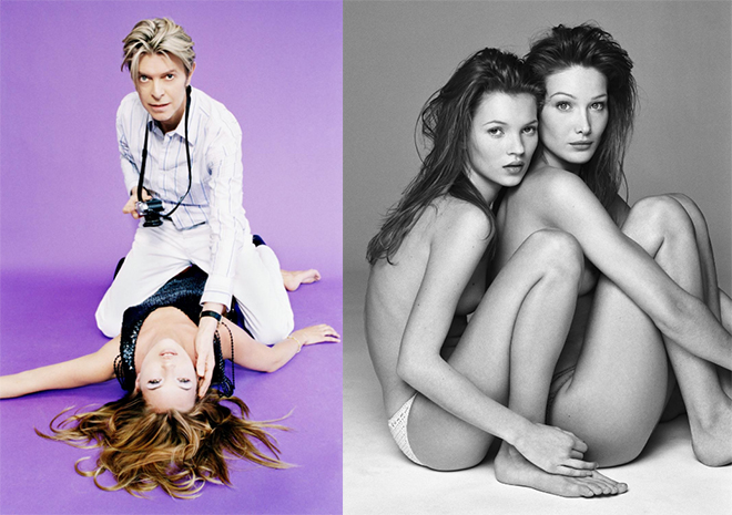 Kate Moss and Carla Bruni, 1994, Patrick Demarchelier courtesy Camera Work. David Bowie and Kate Moss, 2005, Ellen von Unwerth courtesy Camera Work
