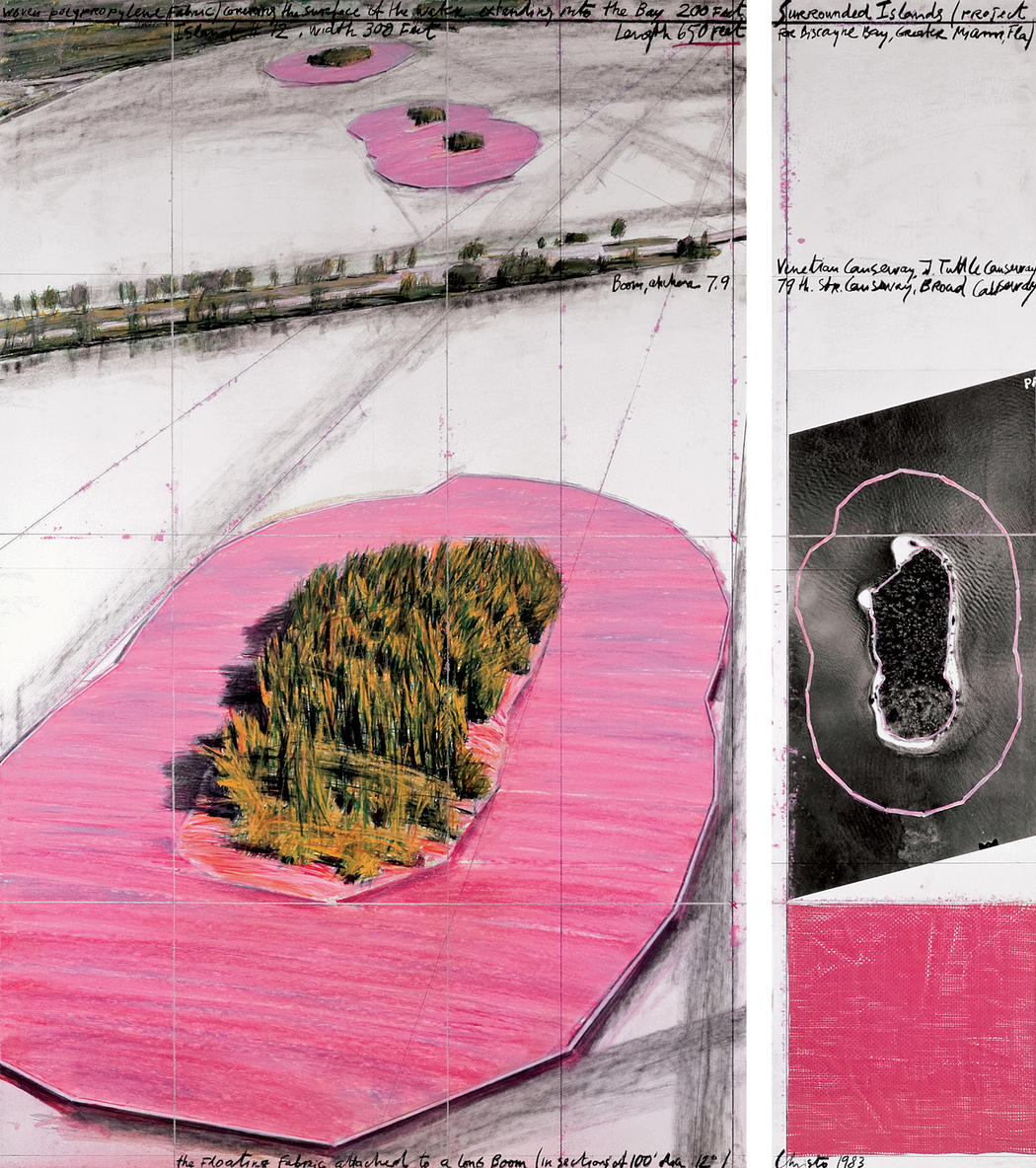 Drawing Fantasy Pink Islands Installation in Miami by land art artists Christo and Jeanne-Claude