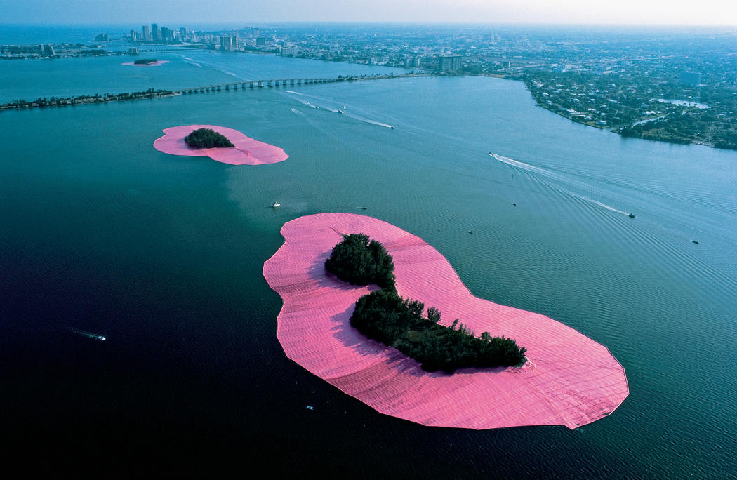 Fantasy Pink Islands Installation in Miami by land art artists Christo and Jeanne-Claude
