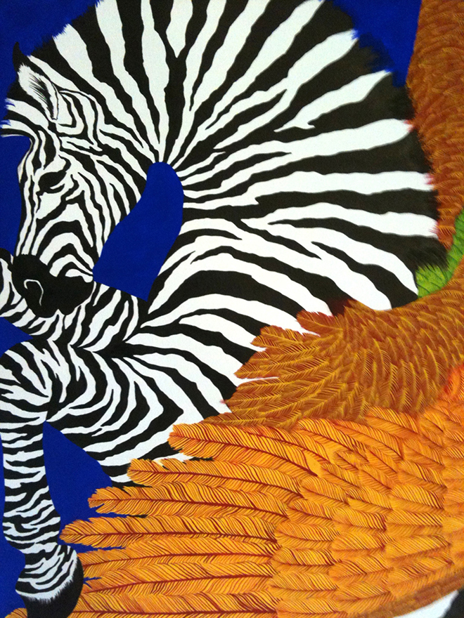 Hermes silk scarf design by Alice Shirley Zebra Pegasus