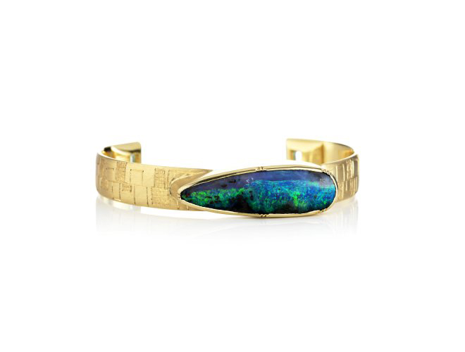 Athena Engraved Boulder Opal Emerald Cuff Brooke Gregson UK London Fashion Week