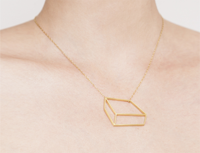 Shimell and Madden - Golden flat cuboid necklace London Fashion Week