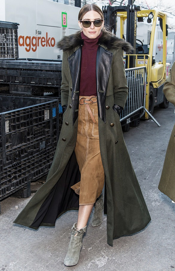 Olivia Palermo in suade H&M skirt