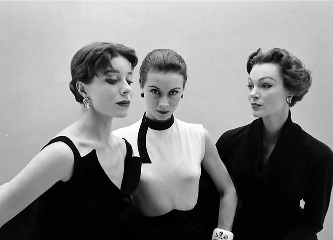 Bettina Graziani, Sophie Malgat and Ivy Nicholson wearing Givenchy, photographed by Nat Farbman
