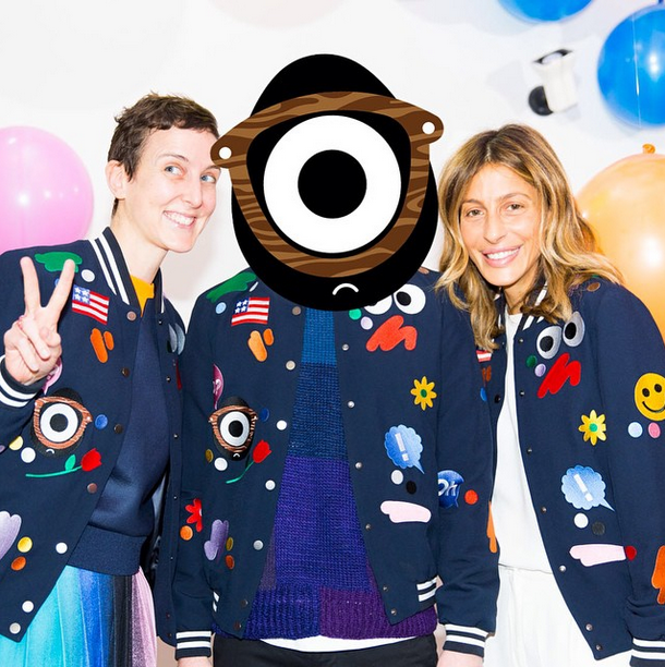 Craig Redman (Darcel) and Mira Mikati posing with bomber jacket and friend