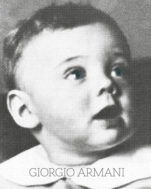 Giorgio Armani's book cover features the designer at age two