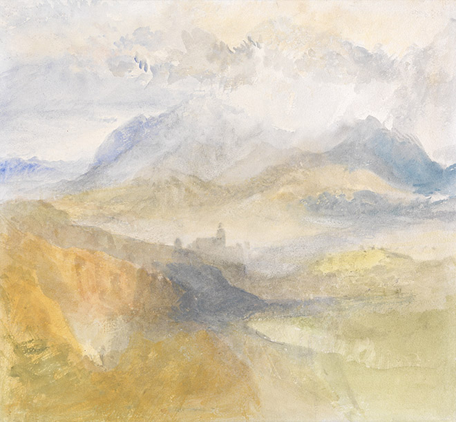 A great late Turner watercolour. A view over the val dAosta by J.M.W.Turner 1836. Lowell Libson