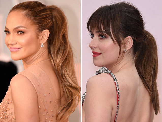 Jennifer Lopez and Dakota Johnson Oscars 2015 Getty