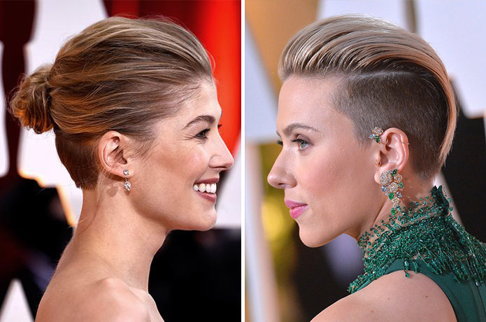 Scarlett Johanssen and Rosamund Pike Oscars 2015 Getty