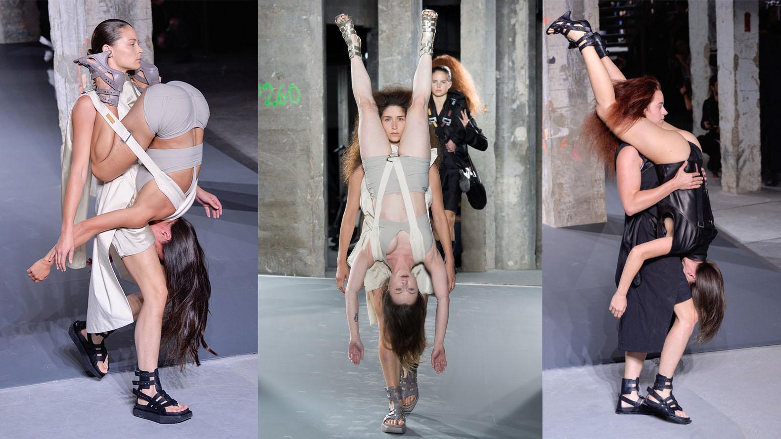 rick owens models carrying models as backpacks Paris Fashion Week SS16