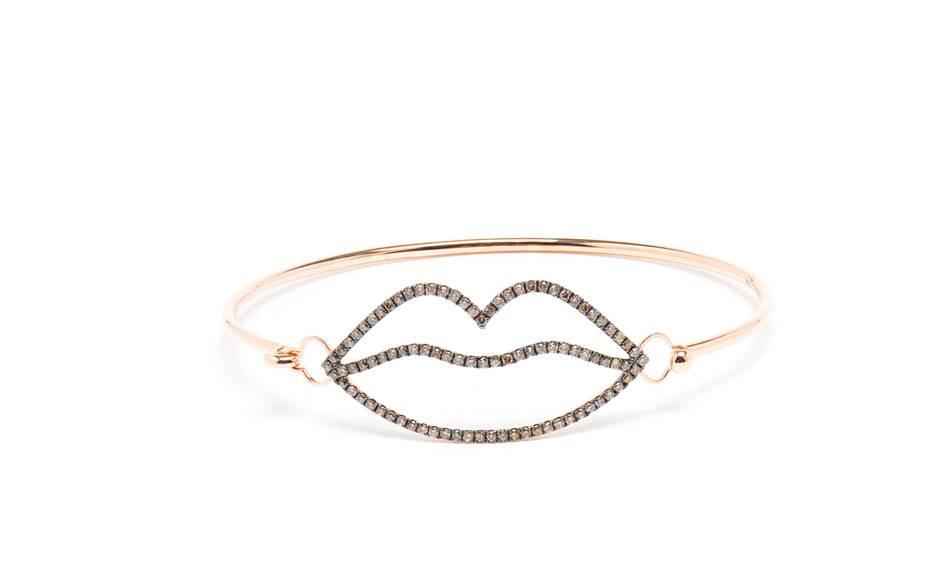 Rosa de la Cruz Lips 18-carat rose gold and brown diamond bangle