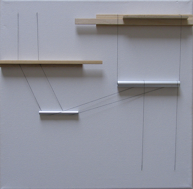 Gyorgy Szasz Transfer 2014 canvas wood aluminium tubes thread 40x40x3.5 cm ARCO 2015