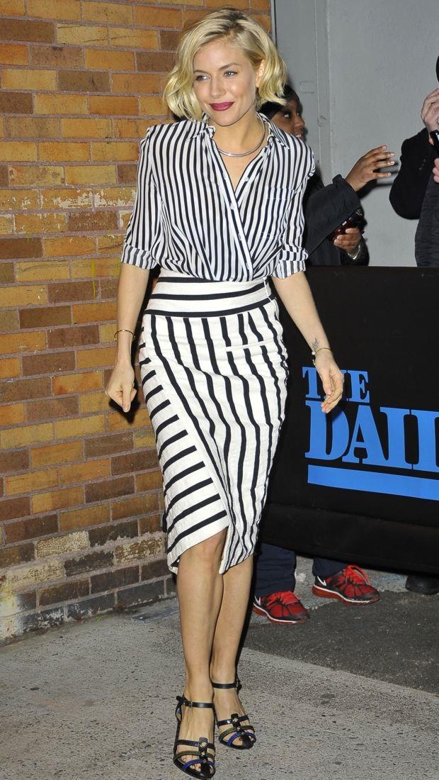 Sienna Miller stripes trend SS15