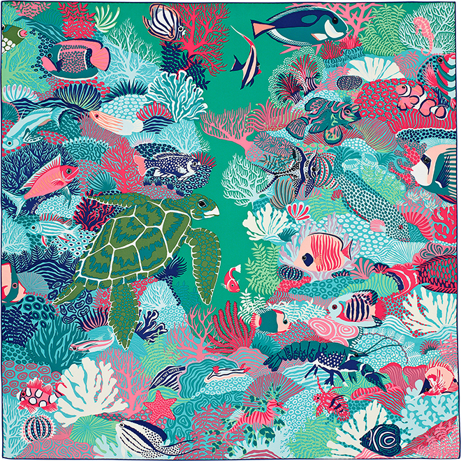 Hermes silk scarf design by Alice Shirley Under the Waves illustrates Australias barrier reef 2