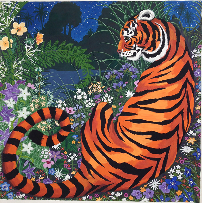 Hermes silk scarf design by Alice Shirley illustration inspired by William Blakes poem Tyger Tyger