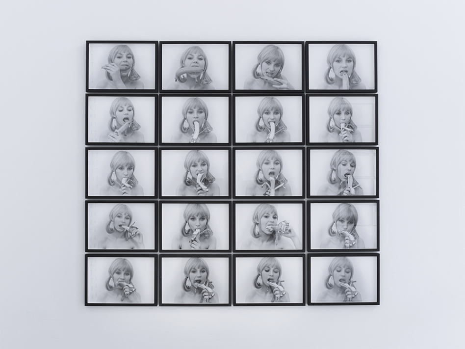 Natalia-LL-Consumer-Art-Blonde-Girl-With-Banana-1972-printed-1991.-20-hand-printed-photographs-on-archival-paper-27-x-38.4-each-28-x-39.4-x-2-cm-with-frame-unique.-©-Ollie-Hammick-948x711